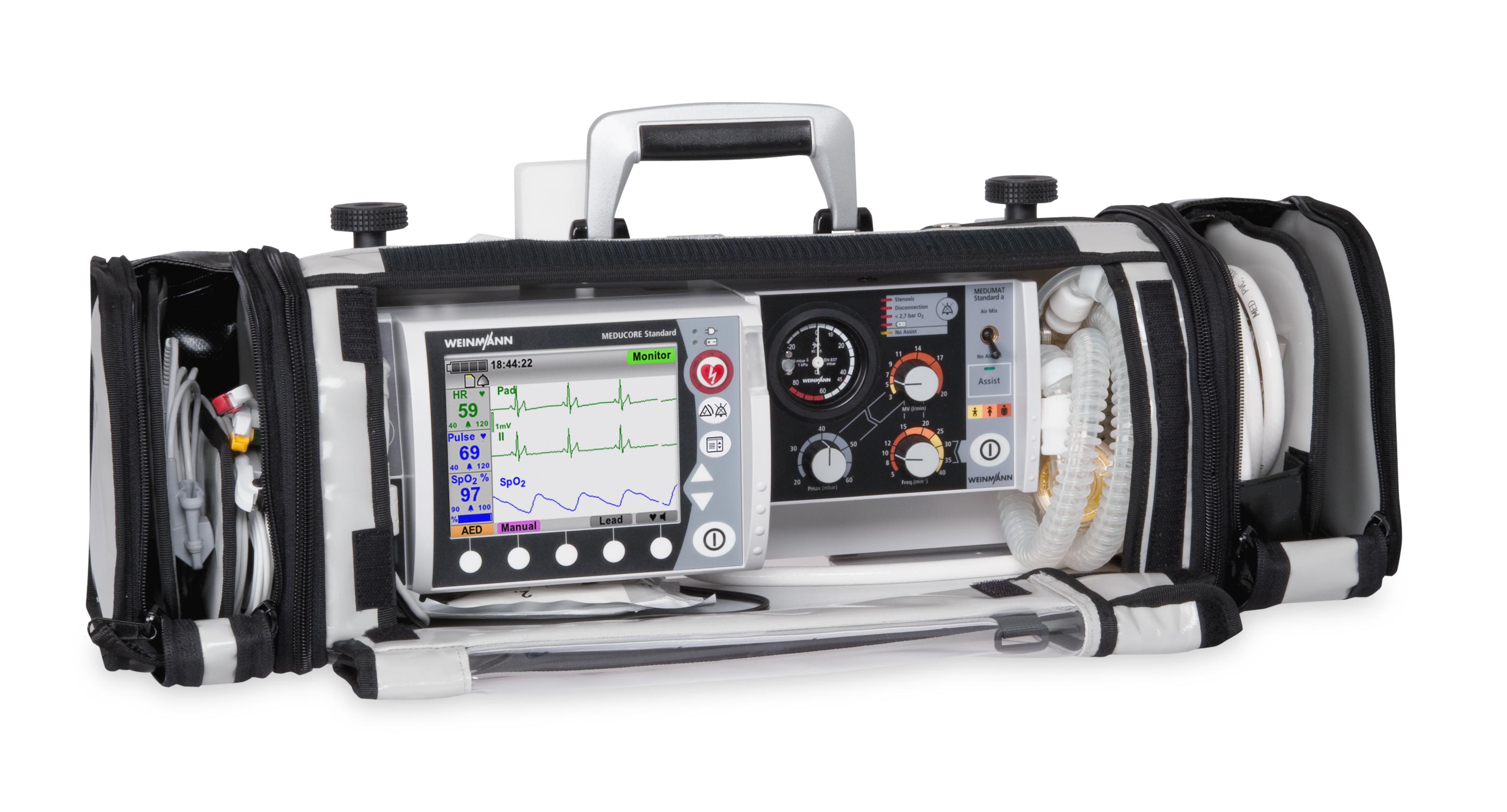 Defibrylator Meducore Standard Basic + Respirator Medumat Standard A na Life-Base 1 NG XL