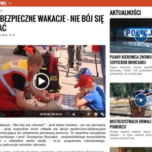 """Akcja """"Bezpieczne Wakacje – Nie bój się ratować"""", w Gdańsku."""